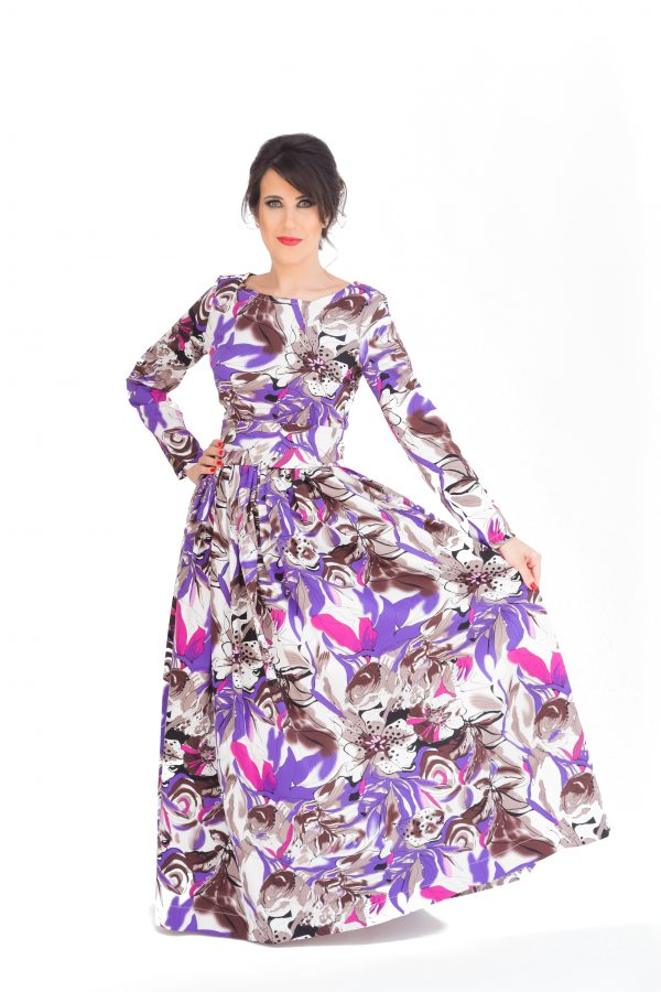 Maxi Purple Floral Cotton Dress With Long Sleeves