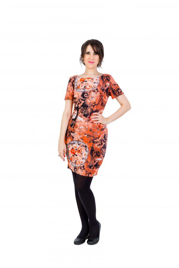 Orange Floral Bodycon Business Dress1